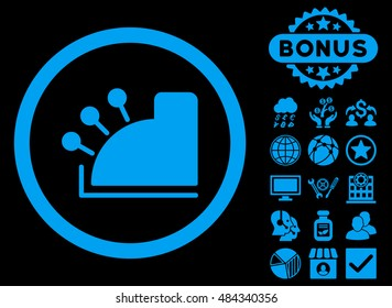 Cash Machine icon with bonus pictogram. Vector illustration style is flat iconic symbols, blue color, black background.
