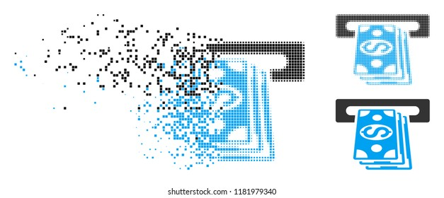 Cash machine icon in fractured, pixelated halftone and undamaged variants. Pixels are organized into vector disappearing cash machine symbol. Disappearing effect involves square scintillas.