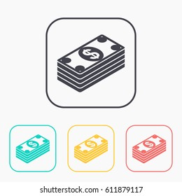 Cash money banknotes vector flat icon