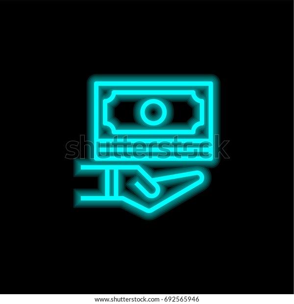 Cash money blue glowing neon ui ux icon. Glowing sign logo vector