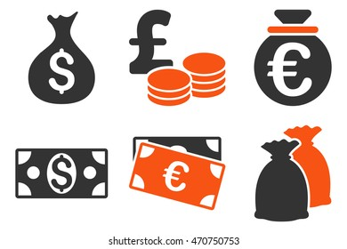Cash Money vector icons. Pictogram style is bicolor orange and gray flat icons with rounded angles on a white background.