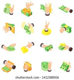Cash nexus icons set. Isometric set of 16 cash nexus vector icons for web isolated on white background