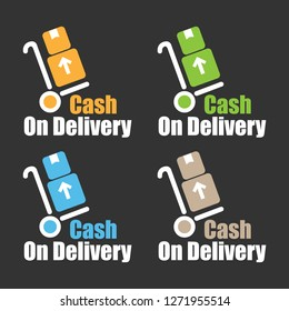 Cash On Delivery graphic label sticker or icon design for promotional campaign or business marketing material