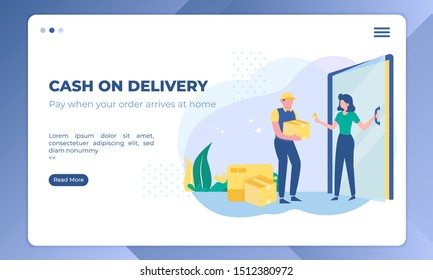 Cash on delivery illustration, shipping business on landing page template