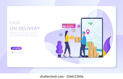 Cash On Delivery service concept, order tracking, Suitable for web landing page, ui, mobile app, banner template. Vector Illustration