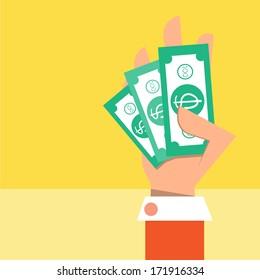 Cash on hand,Vector cartoon business