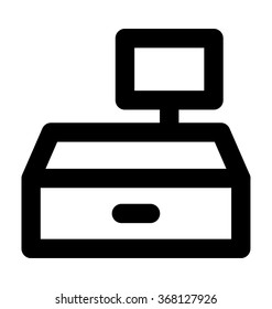 Cash Register Bold Line Vector Icon