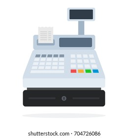 Cash register with a check for merchandising vector flat material design isolated on white