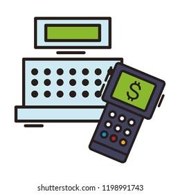 Cash register and dataphone