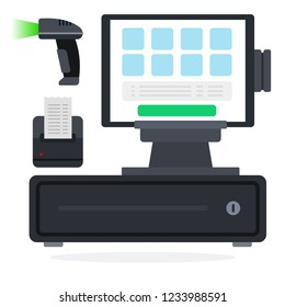 Cash register equipment flat single icon vector isolated on white