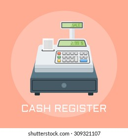 Cash register flat design style vector illustration