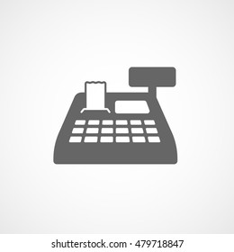 Cash Register Flat Icon On White Background