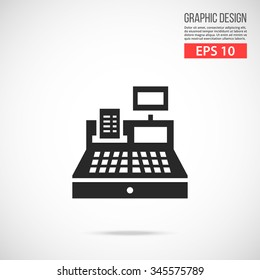 Cash register icon. Black pictogram. Modern flat design vector illustration, new high quality concept for web banners, web site, infographics. Vector icon graphic art isolated on gradient background