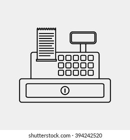 cash register icon thin line for web and mobile, modern minimalist flat design. Vector icon dark gray on light gray background.