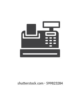 Cash register icon vector, filled flat sign, solid pictogram isolated on white. Symbol, logo illustration. Pixel perfect