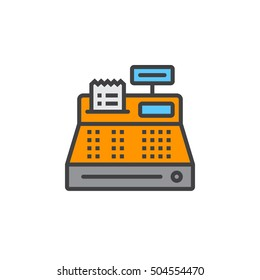 Cash register line icon, filled outline vector sign, linear colorful pictogram isolated on white. logo illustration