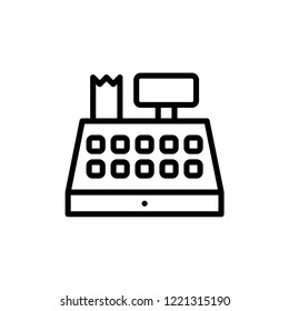 Cash register line icon, outline vector sign, linear style pictogram isolated on white. Symbol, logo illustration. Editable stroke. Pixel perfect