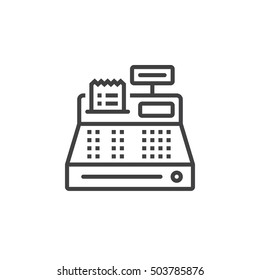 Cash register line icon, outline vector sign, linear pictogram isolated on white. logo illustration