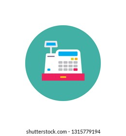 Cash register machine - concept colored icon in flat graphic design style. Sign for website, mobile application, presentation, infographic. Cashbox symbol. Vector illustration.