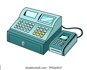 Cash register with point of sale terminal pop art retro vector illustration. Isolated image on white background. Comic book style imitation.