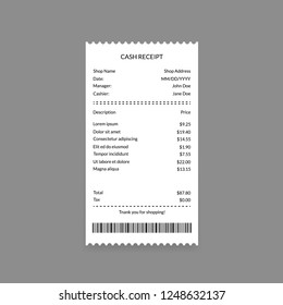 Cash Register Receipt on a Grey Background Payment Finance Document from Retail Store or Shop. Vector illustration