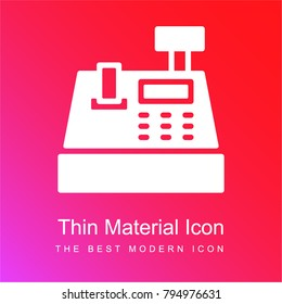 Cash register red and pink gradient material white icon minimal design