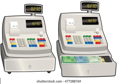 Cash register till.