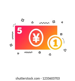 Cash sign icon. Yen Money symbol. JPY Coin and paper money. Colorful geometric shapes. Gradient cash icon design.  Vector