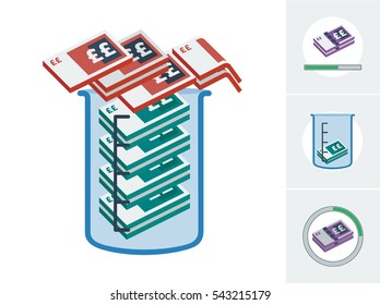 Cash spilling out of a measuring jug and 3 other alternative icons to symbolize  economical deficit vector illustrations