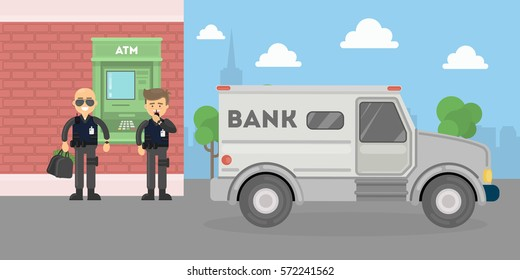 Cash transit guards with van. Two smiling men in bulletproof vests with money bags. Landscape with atm and bank building.