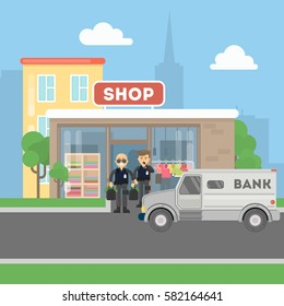 Cash transit guards with van. Two smiling men in bulletproof vests with money bags. Landscape with shop building.