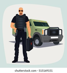 Cash and Valuables in Transit guard man in bullet proof vest, standing with cash or money suitcase. Right hand on holster keeps firearms. Armored vehicle on background. Vector illustration