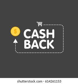 Cashback concept logo vector illustration coins and arrow.