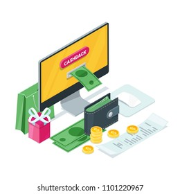 Cashback concept. Vector isometric 3d illustration. Money icons for cash back, commerce or transfer payments online service.