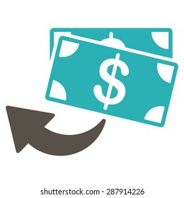 Cashback icon from Business Bicolor Set. This flat vector symbol uses grey and cyan colors, rounded angles, and isolated on a white background.