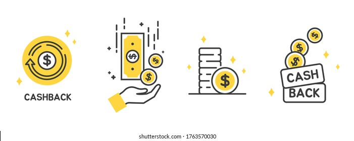Cashback icon set, Return money, Cash back rebate, Financial services, money refund, return on investment, savings account, currency exchange. Mobile payment for purchases. line symbol. Vector.