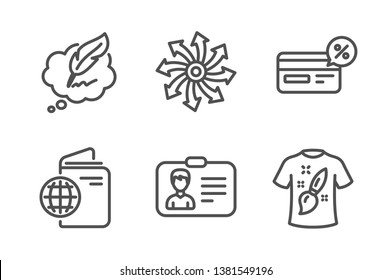 Cashback, Identification card and Versatile icons simple set. Travel passport, Copyright chat and T-shirt design signs. Non-cash payment, Person document. Line cashback icon. Editable stroke. Vector