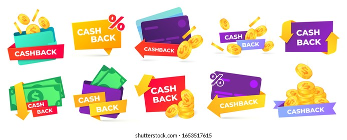 Cashback label. Money refund badges, cash back deal and return coins from purchases and payment vector labels set. shopping discount promotion stickers with golden coins, wallet and percent sign