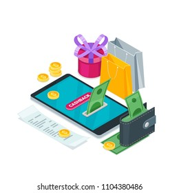 Cashback money, online service concept. Vector isometric 3d illustration. Icons for cash back, commerce or transfer payments mobile apps.