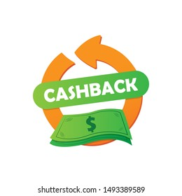 Cashback for purchases. Refund of a part of money for purchases. Vector illustration EPS 10