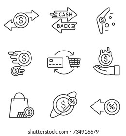 Cashback reward program icon set. Encourage for purchase. Isolated vector Illustration in linear design. Line with editable stroke