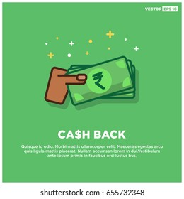 Cashback With Rupees Cash in Hand Line Art Design