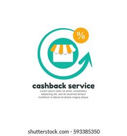 Cashback service logo template. Online store concept
