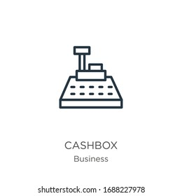 Cashbox icon. Thin linear cashbox outline icon isolated on white background from business collection. Line vector sign, symbol for web and mobile