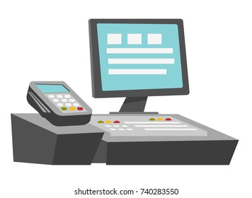 Cashbox with touch screen and payment terminal for credit card vector cartoon illustration isolated on white background.
