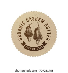 Cashew butter emblem with hand drawn nuts in eco friendly style. Vector illustration
