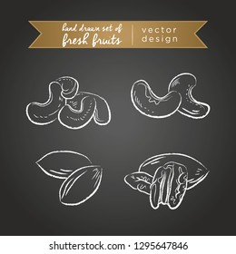 Cashew, pecan. Set of fresh fruits, whole, half and bitten with leaf. Vector illustration. Isolated on blackboard