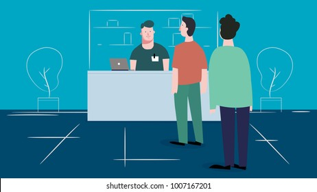 Cashier in the apron and buyer pays purchase. Cash register desk or checkout counter at grocery store. Credit card payment. Cartoon interior and assistant of a retail shop.