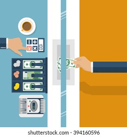 Cashier in bank. Worker bank, financial specialist, cash, currency exchange. Vector illustration, flat design style. Cashier window. Customer service. Cash register, money. Finance and money.