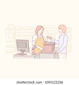The cashier and customer are making payments at the market checkout. hand drawn style vector doodle design illustrations.